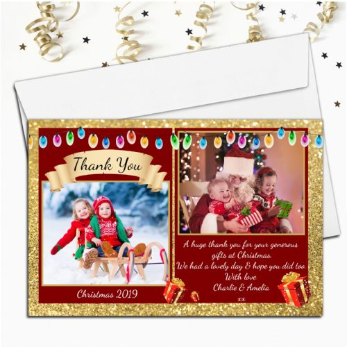 10 Personalised Christmas Xmas Gift Thank you PHOTO Cards N42